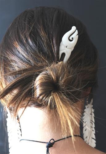 Carved Bone Maori Heru Hair Comb