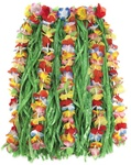 CHILD'S FLOWER TRIMMED ARTIFICIAL GRASS HULA SKIRT