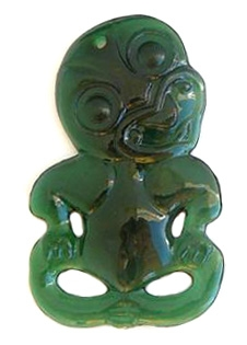 2 1 2 Green Plastic Maori Tiki