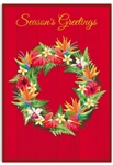 TROPICAL WREATH DELUXE CHRISTMAS CARDS / BOX OF 12