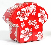 RED HIBISCUS ALOHA SHIRT GIFT TIN