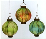 LIGHT-UP PAPER LUAU LEAF LANTERNS / SET OF 3 ASSORTED