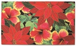 FESTIVE HIBISCUS HAWAIIAN CHRISTMAS HEAVYWEIGHT DOORMAT