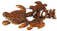 3 HONU / TURTLE ALOHA CARVED WOOD WALL PLAQUE