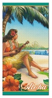 BEACH TOWEL - VINTAGE HULA GIRL