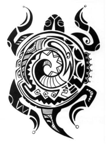 Large Polynesian Tribal Turtle Temporary Tattoo