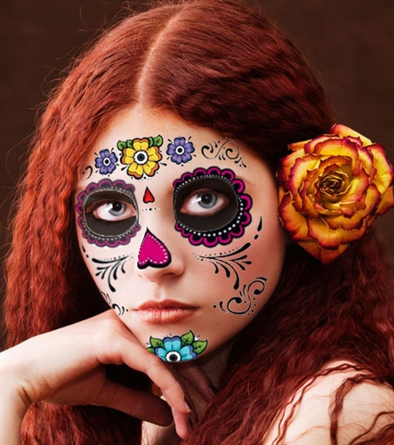 floral day of the dead sugar skull full face temporary