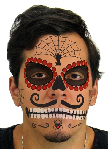 ruby sugar skull day of the dead face tattoo kit 1