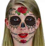 LACE SUGAR SKULL DAY OF THE DEAD TEMPORARY FACE TATTOO