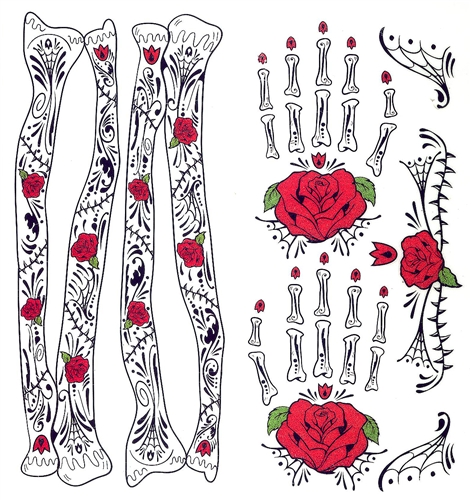 Day Of The Dead Hand Tattoo: GLITTER RED ROSES DAY OF THE DEAD HAND & ARM BONES