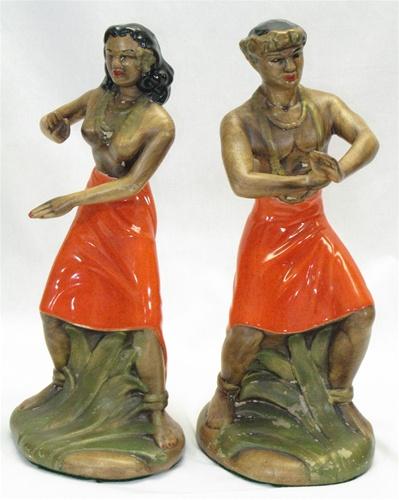 Large Vintage Ceramic Polynesian Couple Figurine