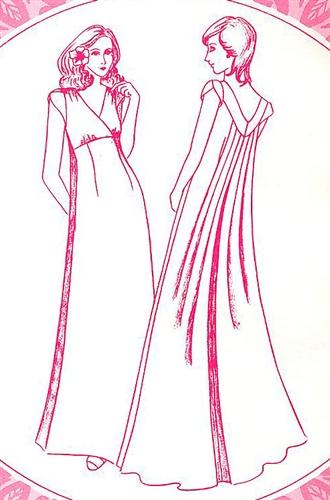 vintage empire waterfall  dress pattern sizes
