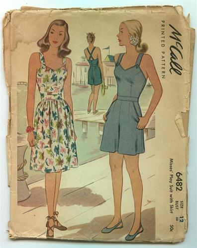 Vintage Uncut 1940 S Sundress Amp Playsuit Pattern Size 15
