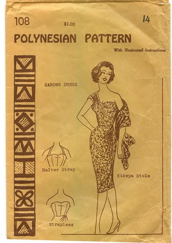 Vintage Sarong Dress Pattern Size 14 Polynesian 108