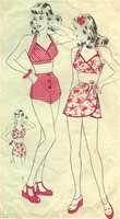 RARE VINTAGE 1940's PIN-UP GIRL 2-PIECE SARONG BATHING SUIT PATTERN - SIZE 16 - Hollywood 1341