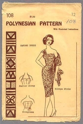 Vintage Uncut Sarong Dress Pattern Size 12 Polynesian 108