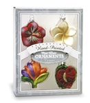 GLASS HOLIDAY FLOWERS MINI ORNAMENT SET/4