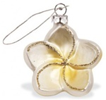 GLASS PLUMERIA FLOWER CHRISTMAS ORNAMENT