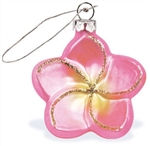 GLASS PINK PLUMERIA FLOWER CHRISTMAS ORNAMENT