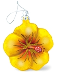 Glass Hibiscus Christmas Ornament - Yellow