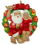 SANTA & MRS. CLAUS WREATH ORNAMENT