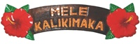 HAND CARVED PAINTED WOOD MELE KALIKIMAKA HIBISCUS SIGN