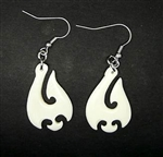MAORI FISH HOOK CARVED BONE  EARRINGS / Pair