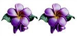 PURPLE PLUMERIA w/BUD EARRINGS / Pair