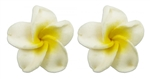MINI WHITE PLUMERIA EARRINGS / Pair