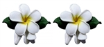 WHITE PLUMERIA w/BUD EARRINGS / Pair