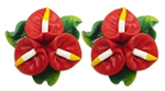 RED ANTHURIUM CLUSTER EARRINGS / Pair