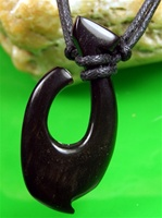 BLACK BONE FISH HOOK PENDANT