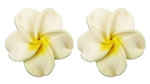 MEDIUM WHITE PLUMERIA EARRINGS / Pair