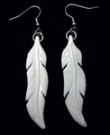 CARVED BONE MAORI FEATHER EARRINGS
