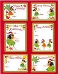 HOLIDAY HULA HONEYS ADHESIVE GIFT TAGS / 18