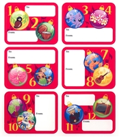 12 DAYS OF CHRISTMAS HAWAIIAN STYLE ADHESIVE GIFT TAGS / 12