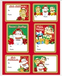 HOLIDAY LUCKY CAT ADHESIVE GIFT TAGS / 18