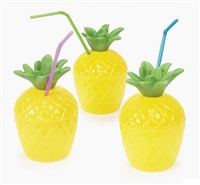 2-PIECE PLASTIC PINEAPPLE MUGS / PACK OF 12