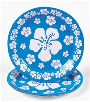 BLUE HIBISCUS PAPER LUNCHEON PLATES / 8