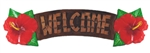 HAND PAINTED WOODEN WELCOME HIBISCUS WALL SIGN