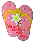 HAND PAINTED PINK SLIPPER SHAPED SIGN - PLEASE REMOVE YOUR SHOES