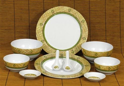 Lauhala Palm Melamine Dinnerware Set 10 Pieces