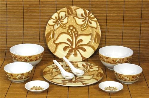 & BROWN HIBISCUS MELAMINE DINNERWARE SET / 10 PIECES