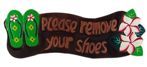 Hand Painted Amp Hand Carved Wooden Please Remove Shoes Sign