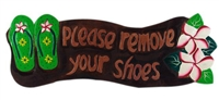 HAND PAINTED & HAND CARVED WOODEN PLEASE REMOVE SHOES SIGN - GREEN