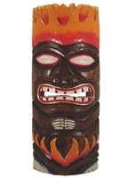 "12"" HAND CARVED & PAINTED WOODEN FLAME TIKI MASK"