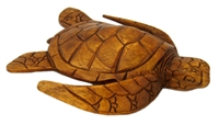 "9"" HAND CARVED WOOD SEA TURTLE - MEDIUM"