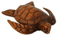 "6"" HAND CARVED WOOD SEA TURTLE - SMALL"