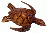 "4"" HAND CARVED WOOD SEA TURTLE - X SMALL"