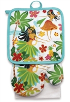 3 PC KITCHEN TOWEL SET - HULA HONEYS